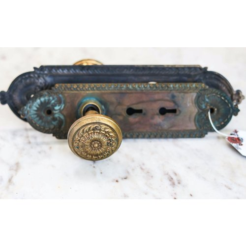Pair of Brass Art Nouveau Door Knobs with Escutcheons