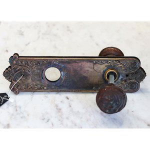 Pair of Brass Art Nouveau Door Knobs with Escutcheons