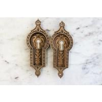 Pair of Intricate Brass Escutcheons