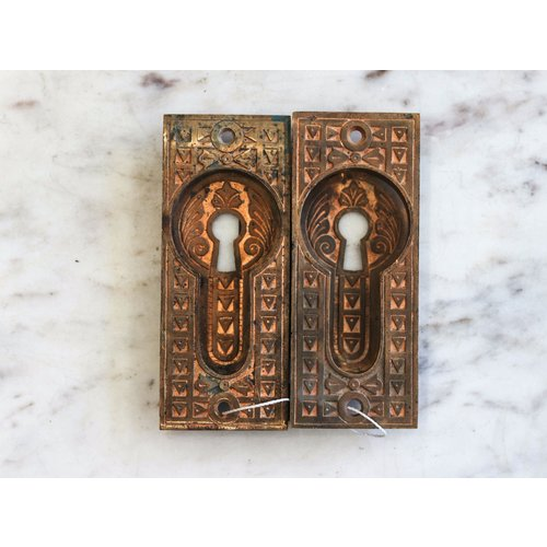 Pair of Intricate Brass Escutcheons