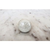 Cream Crackle Ceramic Drawer Knob from India