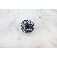 Black Daisy Ceramic Drawer Knob from India