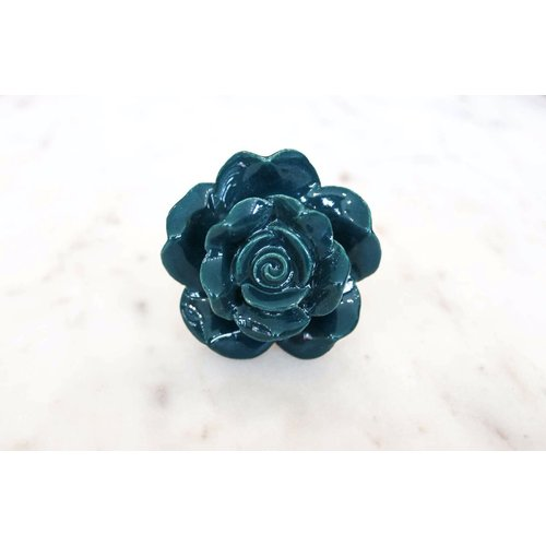 Forest Green Ceramic Rose Dresser Knob from India