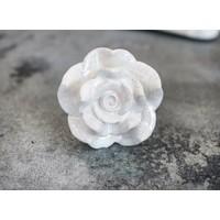 White and Pink Ceramic Rose Dresser Knob