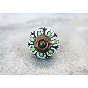 Pea Green Ceramic Floral Dresser Knob