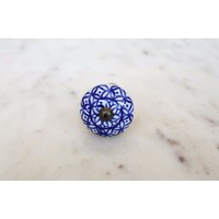 Blue Floral Ceramic Cabinet Knob from India