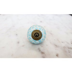 Sky Blue Etched Ceramic Drawer Knob from India