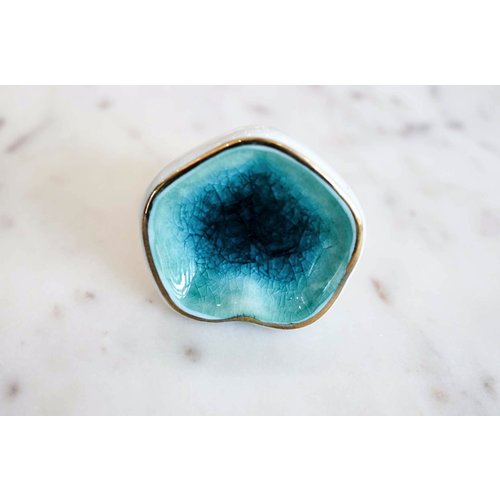 Sea Green Crackle Ceramic Drawer Knob from India