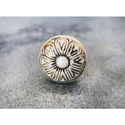 Golden Flower Ceramic Cabinet Knob from India