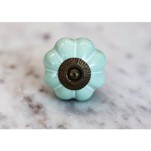 Green with Silver Melon Drawer Knob from India