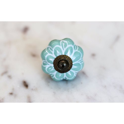 Sage Green Floral Melon Drawer Knob