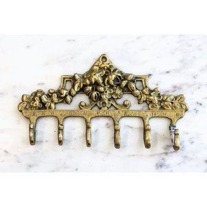Brass Victorian Floral Arrangement Wall Hook from India