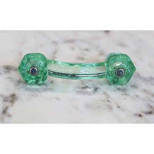 Translucent Green Glass Bridge Drawer Pull
