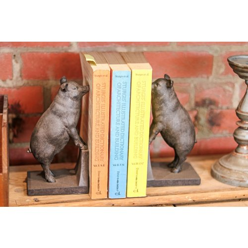 Pair of Resin Pig Bookends - Black