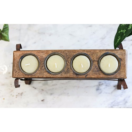 Wooden Candle Holder with Iron Base