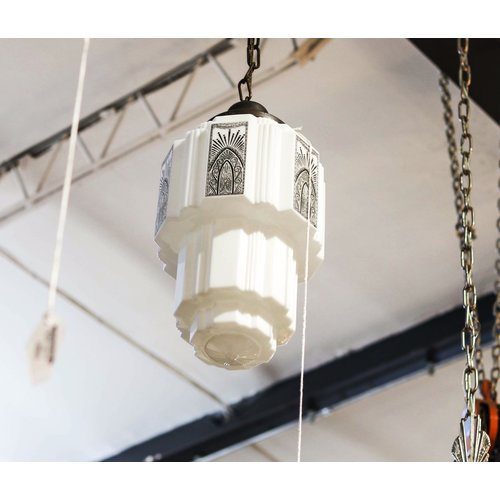 Pendant Light with Art Deco Skyscraper Globe