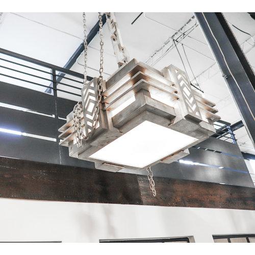 Art Deco Cast Aluminum Hanging Light