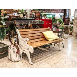 Wooden Bench with Ironwork