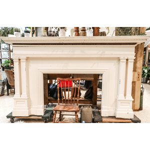 Large White Wooden Fireplace Surround