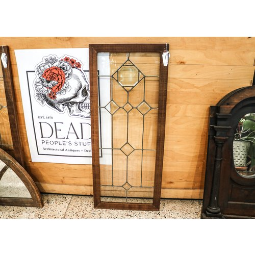 Beveled Leaded Glass with Teak Frame