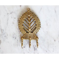 Brass Tribal Leaf Wall Hook from India