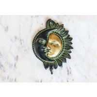 Brass Sun and Moon Wall Hook from India
