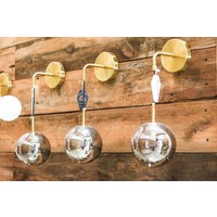 Modern Brass Dangling Sconce Light with Smoke Grey Glass Globe