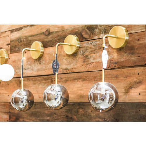 Modern Brass Dangling Sconce Light with Smoke Grey Glass Globe