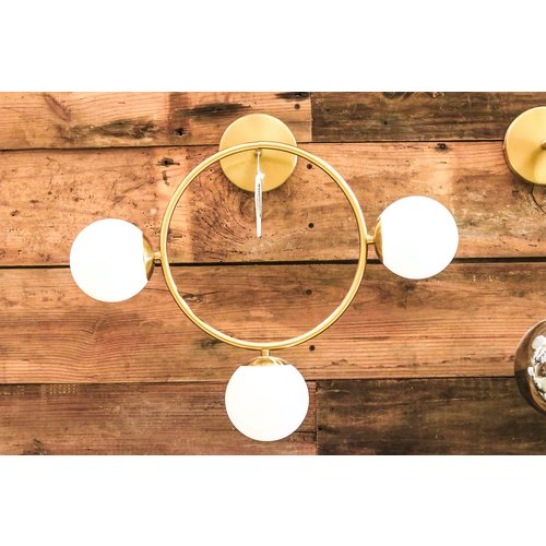 Modern Brass Circle Sconce Light with Glass Globes