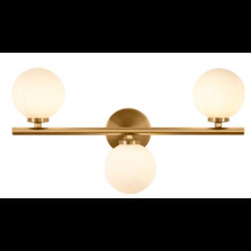 Modern Brass Sconce Light with Milk Glass Globes