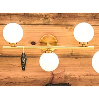 Modern Brass Sconce Light with Milk Glass Globes