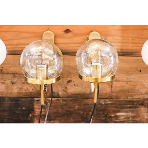 Modern Brass Sconce Light with Ring and Clear Glass Globe