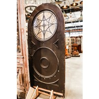Large Arch Top Door with Round Leaded Glass Light