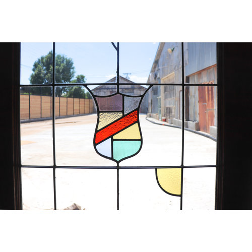 Colorful Shield Stained Glass Door