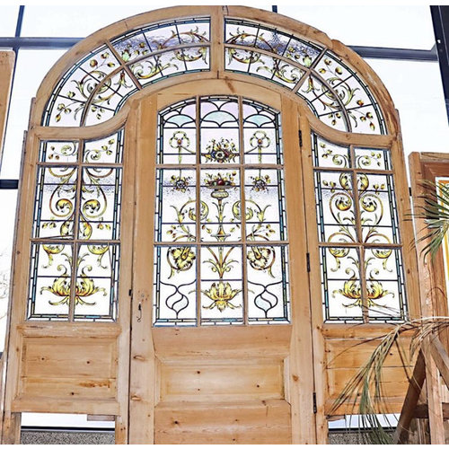 1800's Old English Arched Stained Glass Door