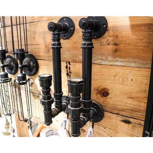 Black Industrial Steel Pipe Sconce Light