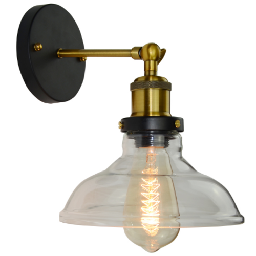 Brass Industrial Sconce Light with Flanged Glass Shade