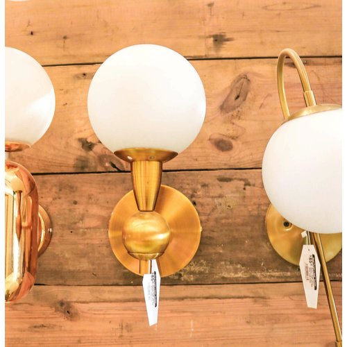 Modern Brass Indoor Sconce Light with Milk White Glass Globe