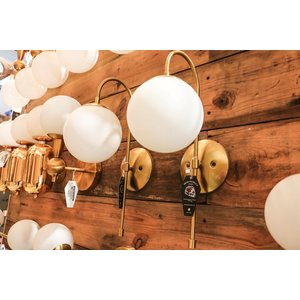 Modern Brass Indoor Sconce Light with Milk White Glass Globe