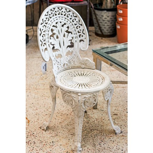 Pair of White Victorian Style Metal Chairs