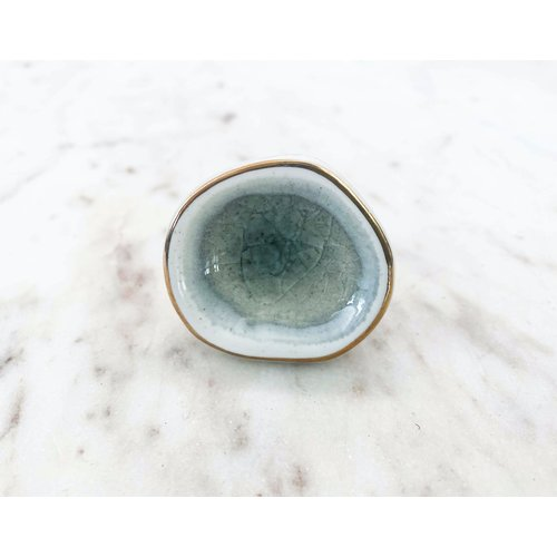 Grey Crackle Ceramic Drawer Knob from India