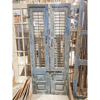Pair of Blue Indian Windows with Iron Bars