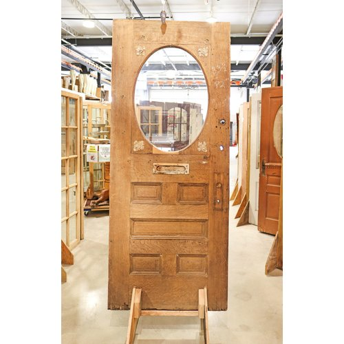 5 Panel 1 Oval Light Stripped Door with Mail Slot