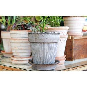Simona 16cm Pot & Saucer Antique Grey