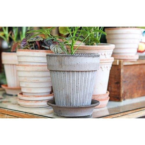 Simona 16cm Pot & Saucer Grey