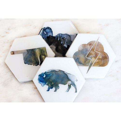 Coaster 4 Pack -  Bison Inverted Oklahoma Set