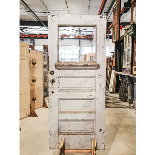 3 Panel 1 Light White Door with Patina