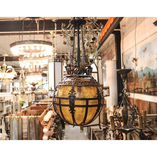 Brass Ball Hanging Light with Amber Globe
