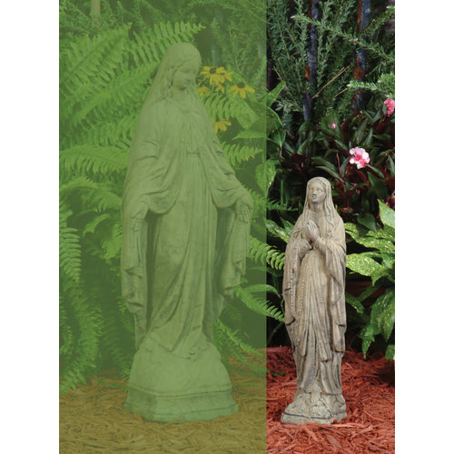 Aged Stone Statue Of Mary