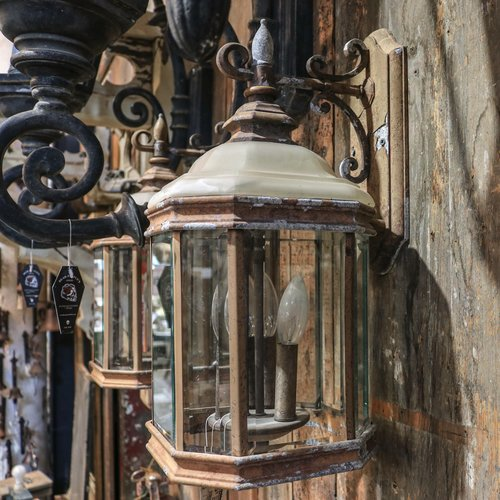 Pair of Sconce Lights with Stained and Beveled Glass